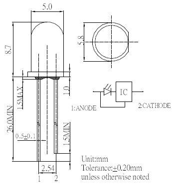 Blink LED 5mm Zeichnung - mit integriertem IC