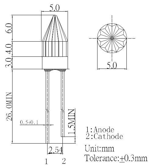 Rocket LED 5mm Zeichnung